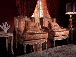 Anna Big armchair, Sillón con exquisita decoración, marco de madera