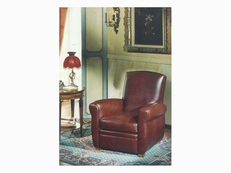 Armand, Sillón de estilo antiguo en cuero, para sala de estar