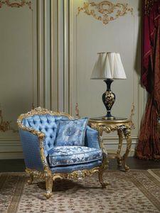 Art. SE-301 Sillón del siglo XVIII, Sillón clásico, tapizado en seda, con tallas