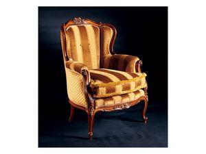 Barocco armchair 779, Sillón acolchado de madera con incrustaciones, estilo antiguo