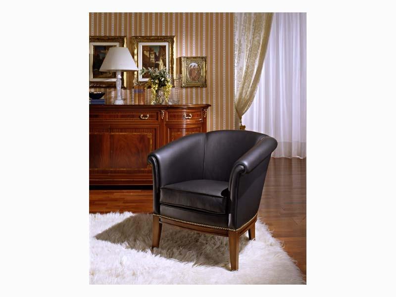 Betty, Sillón en madera de álamo, de mobiliario clásico