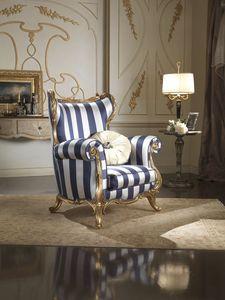 Borromini sillón, Sillón Bergere tapizado en tela de seda.