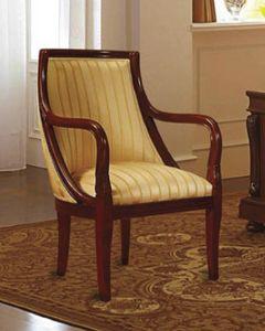 Canova Sillón, Sillón en madera de nogal, tapizado, hoteles clásicos