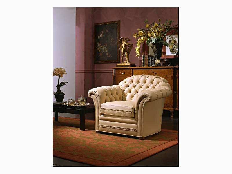 Lloyd Armchair, Sillón tapizado de cuero fino, para las habitaciones de hotel