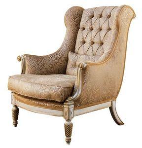 Michelangelo RA.0998, Nogal sillón, brazos, piernas en forma de embutido rizo, capitonné espalda, para ambientes de estilo clásico y lujoso