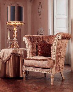 Monnet armchair, Sillón de estilo clásico de lujo, acolchado que cubre
