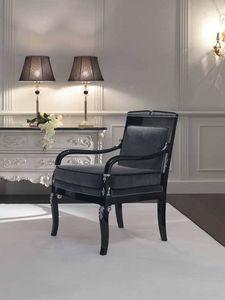 Opale sillón, Sillón tallado a mano, acabado negro.