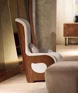 PO62 Galileo sillón, Sillón acolchado en madera de nogal de clásicos contemporáneos salas de estar