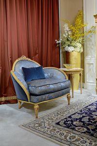 Sillón 4972 estilo Luis XVI, Sillón de lujo, con acabado decapé antiguo.