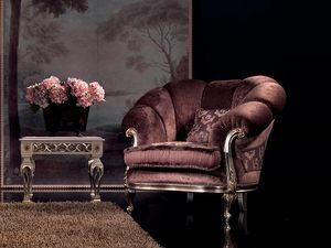 Valeria armchair, Sillón de terciopelo, acabado en plata, para la sala de lujo