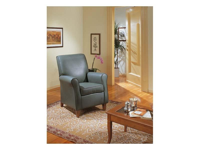 Verdiana, Sillón tapizado, para mobiliario clásico, en cuero