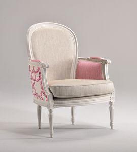 BLANCHE sillón 8652A, Sillón de madera decorada, acolchado, personalizable
