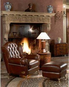 Cigar Chair, Sillón de estilo clásico, con acabados de cuero acolchado