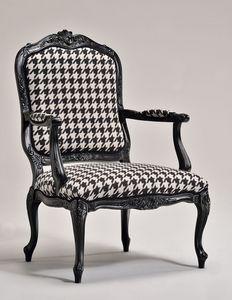 MARIE sillón 8537A, Sillón clásico, base de madera de haya, acolchado, para sala de estar