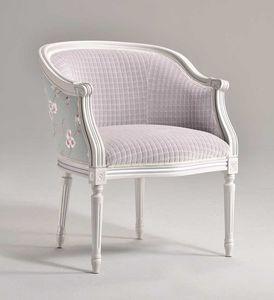 ORNELLA sillón 8039A, Sillón de haya tapizado, para los salones tradicionales