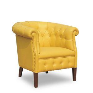 Rebecca, Sillón con tapizado de cuero adecuado para ambientes de estilo clásico