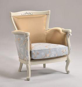 VENEZIA armchair 8294A, Sillón clásico estilo con acabado en pan de plata