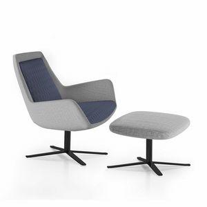 Roxy armchair, Sillón giratorio con base de metal