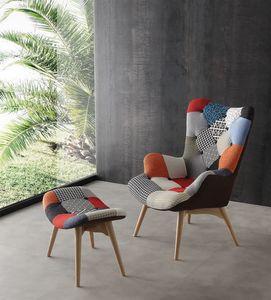Art. 420 Sweethome, Sillón acolchado con base de madera, tapicería de patchwork