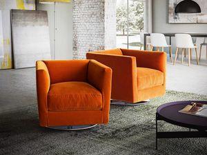 Dolcevita sillón, Sillón con líneas modernas, base giratoria de metal