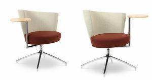 ELIPSE 1TR, Butaca con asiento circular, con mesa integrada