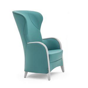 Euforia 00143, Butaca en madera maciza, asiento y respaldo tapizados, apoyabrazos de madera, estilo moderno