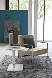 NEVADA PT101, Sillón con brazos de metal y asiento tapizado