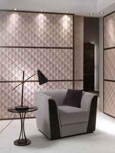 PO63 Madison sillón, Sillón con tapicería de tela, con respaldo de texturo rómbico
