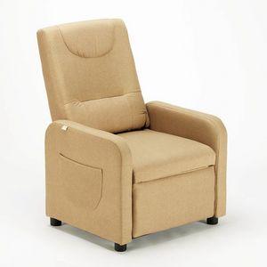 Sillón reclinable relajante con reposapiés de tela ANNA Design - SR6203FE, Sillón Relax en tela