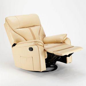 Sillón reclinable relax con mecedora y rotación de 360 en polipiel SISSI XL - SR683PEE, Sillón Relax con sistema de balanceo.