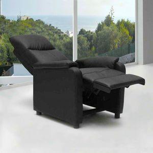 Sillón Relax Reclinable con Reposapiés de Cuero Polipiel GIULIA - SR611PUN, Sillón reclinable con reposapiés