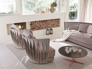Twist sillón, Sillón de hierro moderno, rellenado con caucho y plumas
