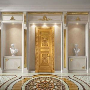 Altair, Puerta de madera de lujo finamente tallada, oro antiguo de la hoja de meta