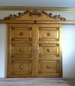 Art. Alexander puerta, Puerta para albañilería, rica talla, acabado pan de oro