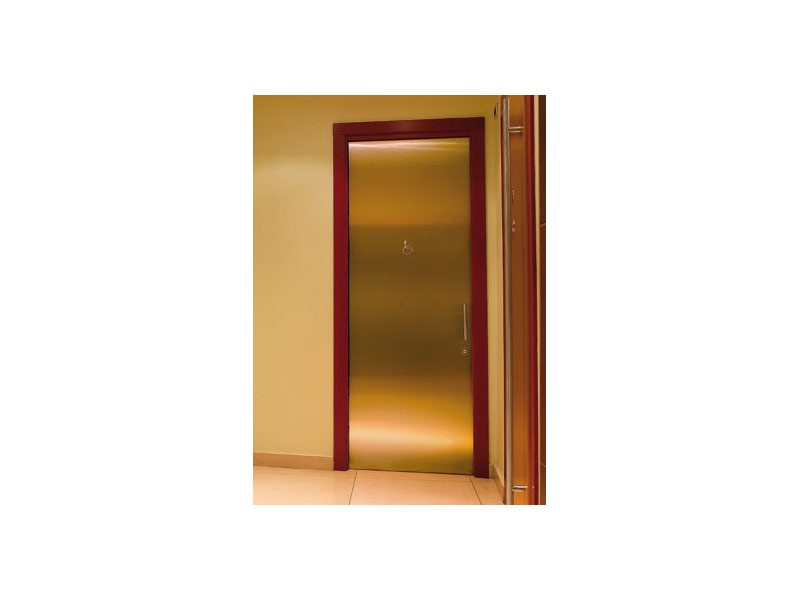 Fortuny, Puerta en latón pulido, asas de acero inoxidable, para baños de hoteles y bares