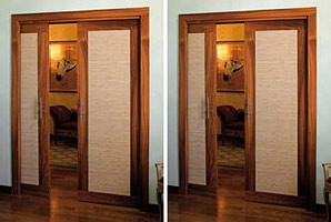 Luxury, Puertas correderas dobles oculto, hecho en tela de palo de rosa y prueba de fuego
