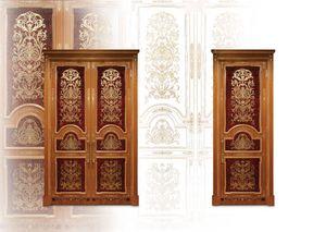 P105 Puerta, Puerta con incrustaciones con puertas dobles para salón clásico