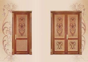 P108 Puerta, Puerta de madera con incrustaciones, estilo de lujo clásica