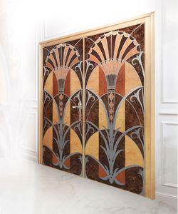 P109 Puerta, Puerta con dos puertas en madera con incrustaciones, para oficinas de lujo