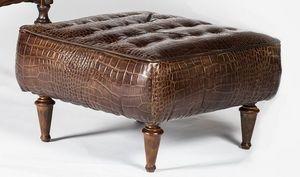 Art. 601/M, Puf cubierta de piel de becerro, de estilo clásico