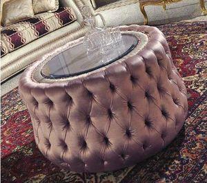 Biscuit, Puf tapizado en moñudo, tapa de cristal de cristal redonda