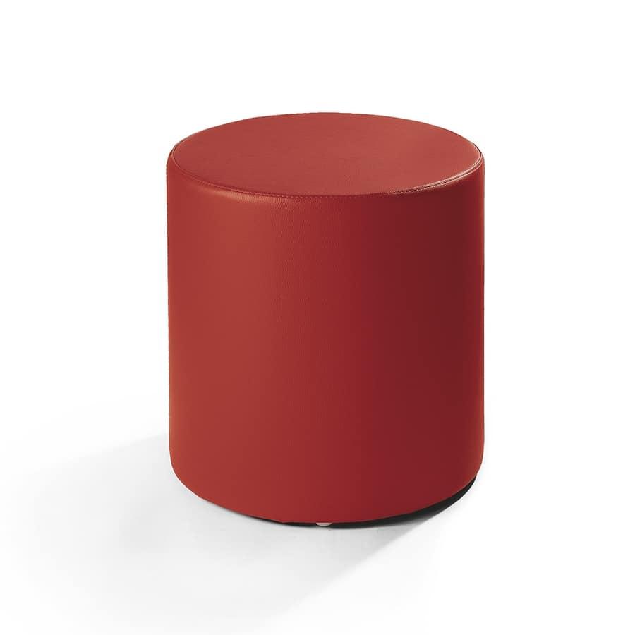 Cilindro 40, Puf de cuero, forma cilíndrica, de moderna sala de estar