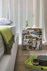 CITYMAP PF607, Puf de tela con motivos urbanos, con los bolsillos