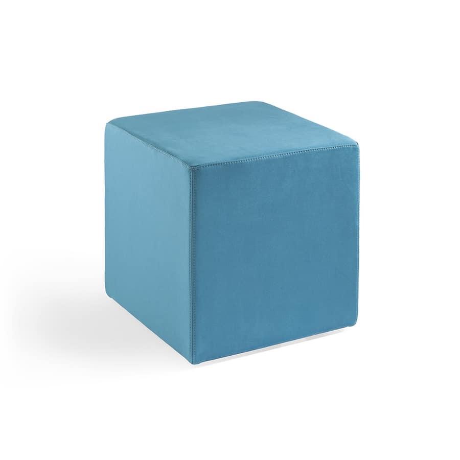 Cubo 40, Puf tapizado totalmente en cuero, retardante de llama
