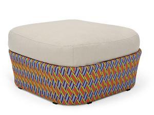 Kente pouf, Puf con la almohada, tejido multicolor, para patio