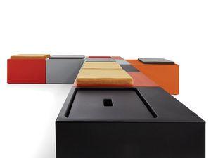 Look, Banco modular, en polipropileno de color, para uso en exteriores