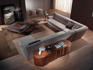 PO42 Morfeo, Puf tapizado con contenedor, nogal superior, para sala de estar