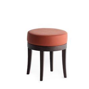 Pouf 01313, Puf Sólido madera en rollo, asiento tapizado, cubierta de tela, para bar y habitaciones de hotel