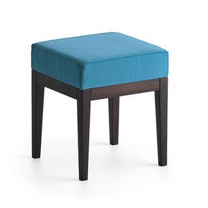 Pouf 01314, Puf cuadrado en madera maciza, asiento tapizado, cubierta de tela, para bar y habitaciones de hotel