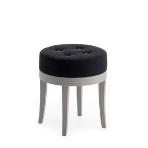 Pouf 01315, Puf redondo en madera maciza, asiento tapizado, tejido de revestimiento de capitoné, para bar y habitaciones de hotel